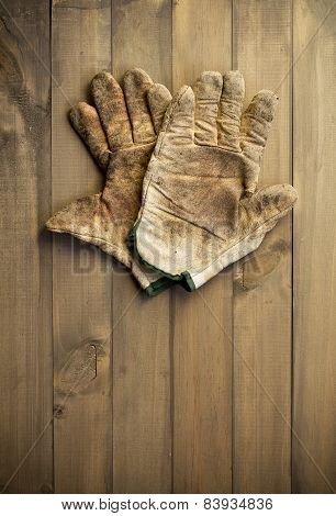 Pair Of Old, Worn Out Working Gloves