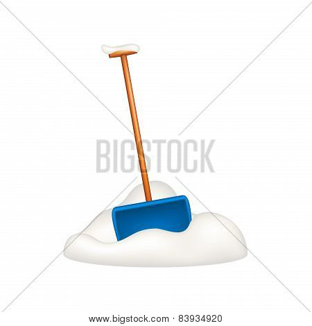 Blue snow shovel standing in snow