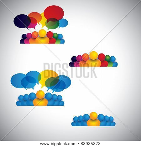 Collection Of People Icons Of Leadership, Friendship - Vector Concept