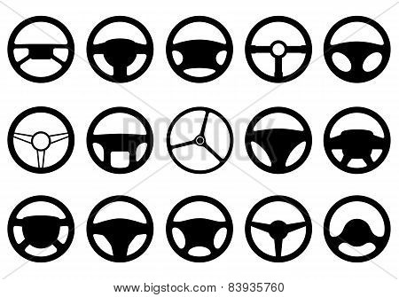 Set of different steering wheels