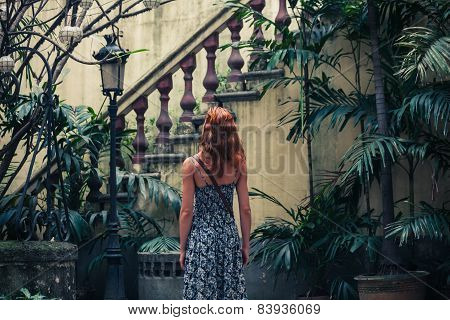 Woman By Colonial Staircase