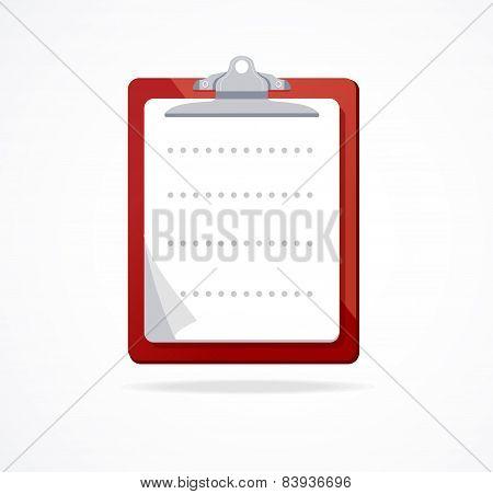 Vector clipboard icon. Flat Design