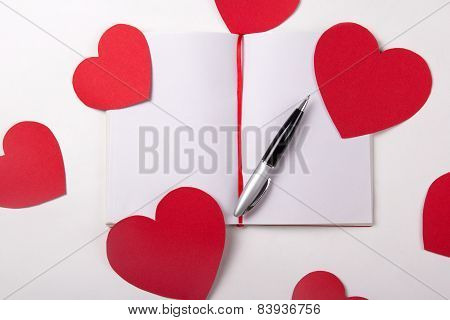 Love Letter Concept - Note Book, Pen And Paper Hearts