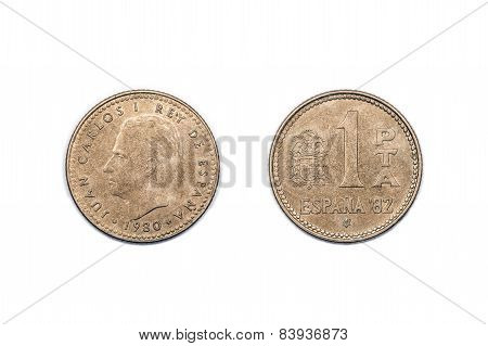 One Peseta coin from Spain 1980 announcing Espana 1982