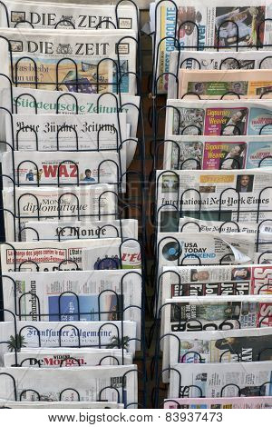 Internaional Newspapers In A Kiosk