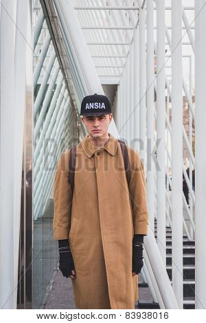Man Outside Jil Sander Fashion Show Building For Milan Women's Fashion Week 2015