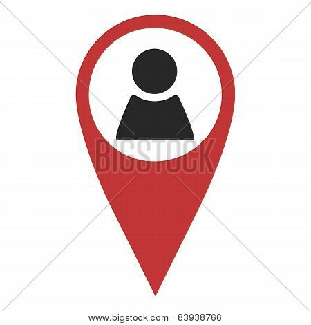 Red Geo Pin With Person Sign