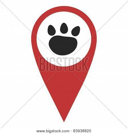 Red Geo Pin With Paw