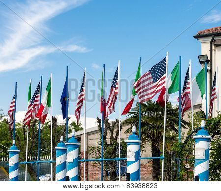 American And Italian Flags In Venice
