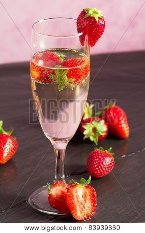 Starwberry With Champagne Glass