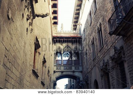 Ancient Arch In Gothic Quarter In Barcelona