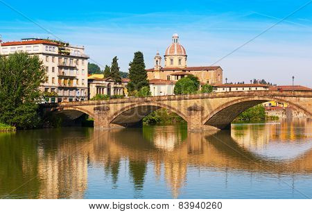 Florence, Bridge Through  River Arno