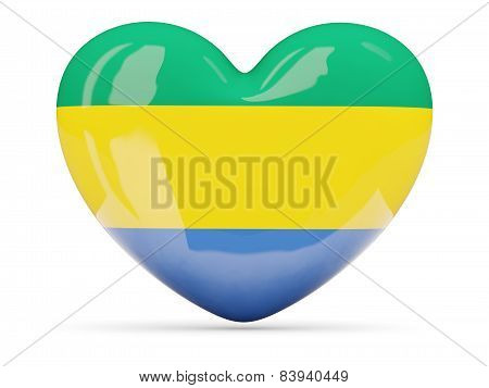 Heart Shaped Icon With Flag Of Gabon