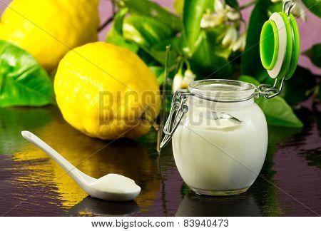 Lemon Yogurt With Fruit On Ardesia