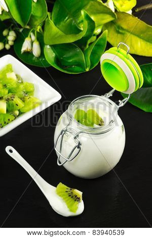 Kiwi Yogurt Over Ardesia Table With Kiwi Fruit Slice