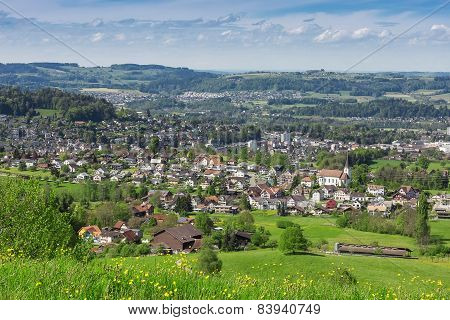 landscape of village in st. gallen, switzerland