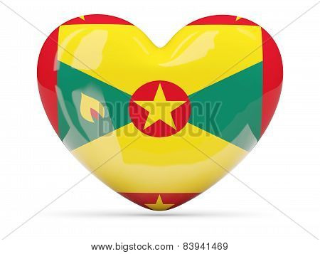 Heart Shaped Icon With Flag Of Grenada