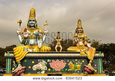 Statue of Lord Mallikaarjuna, Karthikeya and Goddess Bhramarambika at Srisailam, India