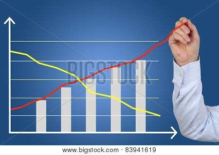 Businessman Drawing A Business Cost Success Growth Chart