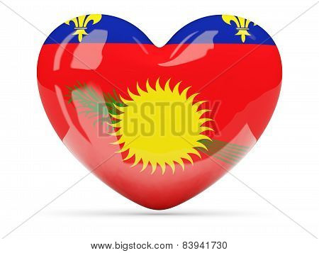 Heart Shaped Icon With Flag Of Guadeloupe