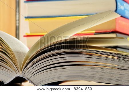Composition With Hardcover Books In The Library