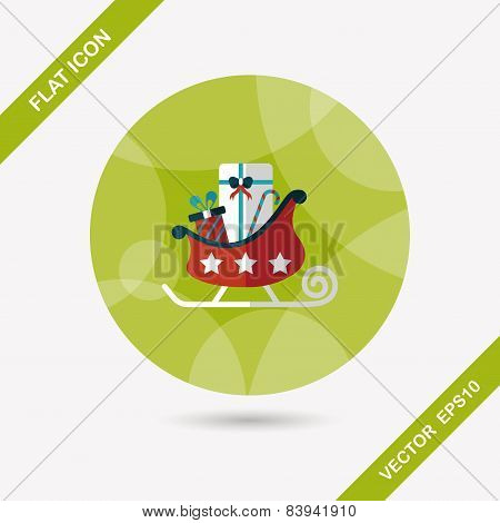Christmas Sleigh Gift Flat Icon With Long Shadow, Eps10