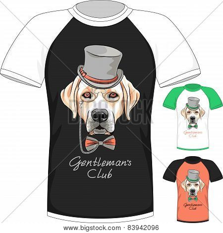 T-shirt with Labrador Retriever gentleman dog
