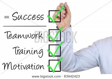 Businessman Writing Business Success Concept With Teamwork And Motivation