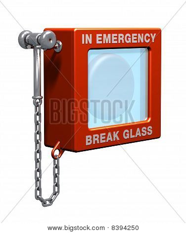 A fire alarm with hammer and chain