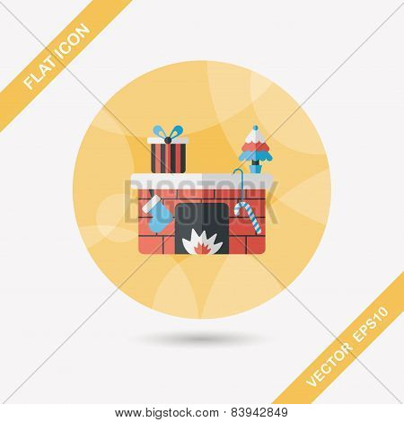 Christmas Fireplace Flat Icon With Long Shadow,eps10