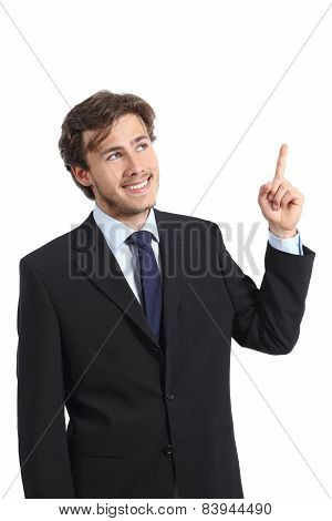 Young Happy Businessman Presenting And Pointing At Side