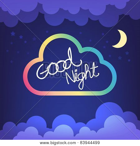 Good Night Letter With Cloud And Sky Vector