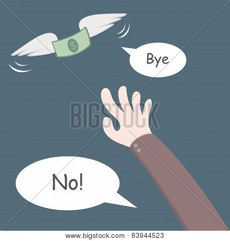 Money Flying Away From Hand