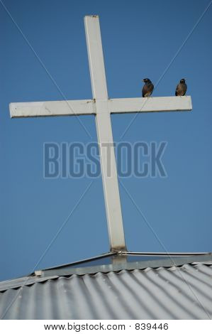 birds on top of cross