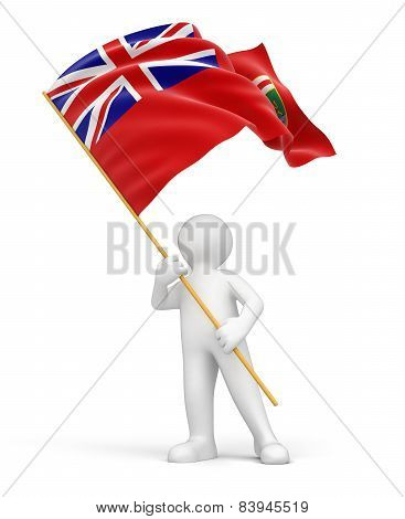 Man and flag of Manitoba (clipping path included)