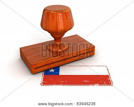 Rubber Stamp Chilean flag (clipping path included)