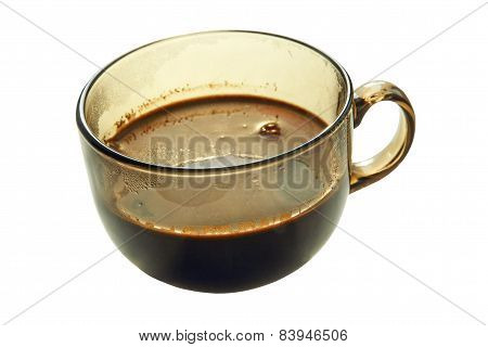 Fragrant Coffee In A Glass Cup.Isolated.