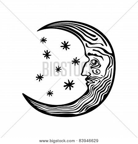 Decorative Moon Shape Night Sky Folklore Retro Vintage