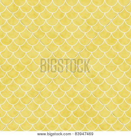 Yellow And White Shell Tiles Pattern Repeat Background