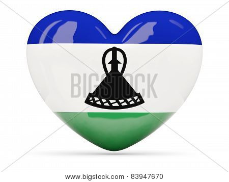 Heart Shaped Icon With Flag Of Lesotho