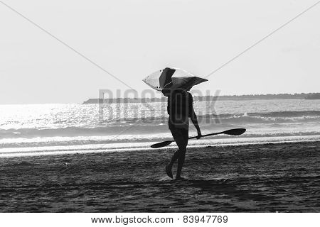 Surfski Paddler Black White