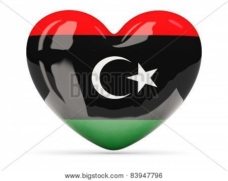 Heart Shaped Icon With Flag Of Libya