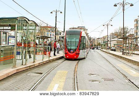 Modern Tram On Army Street (ordu Caddesi), Istanbul, Turkey