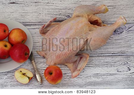 Crude Hen And Apples, Process Of Preparation Of A Stuffed Hen With Apples