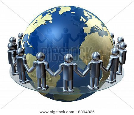 Hands around the world, co-operation and trade