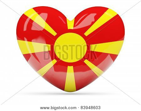 Heart Shaped Icon With Flag Of Macedonia