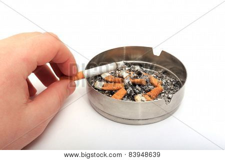 Ashtray And Cigarette On A White Background.