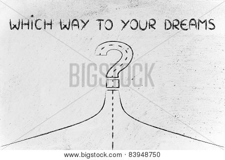 Which Way To Success, Illustration Of A Path Turning Into A Question Mark