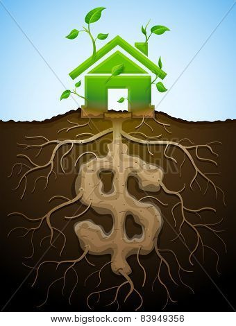 Growing House Sign Like Plant With Leaves And Dollar Like Root