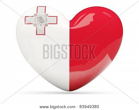 Heart Shaped Icon With Flag Of Malta